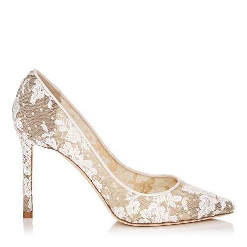 Romy 100 - Ivory Floral Lace Pointy Toe Pumps