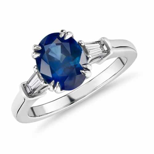 Oval Sapphire Ring with Tapered Baguette Sidestones in Platinum