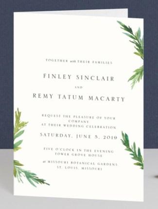 simple pine branches wedding invite