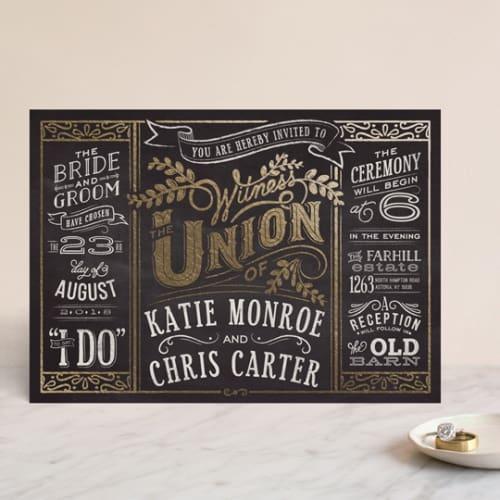 slated forever minted wedding invite