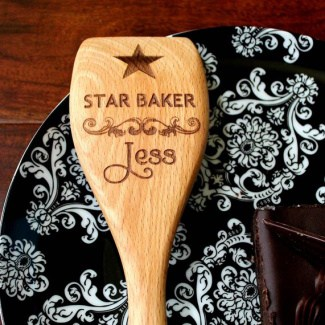 personalized wooden spoon 'star baker'