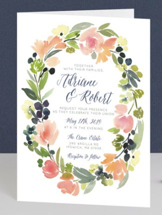 watercolor wreath wedding invite