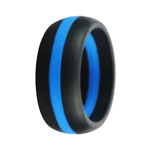 dual tone striped silicone ring