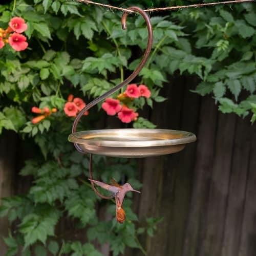 brass hanging bird feeder