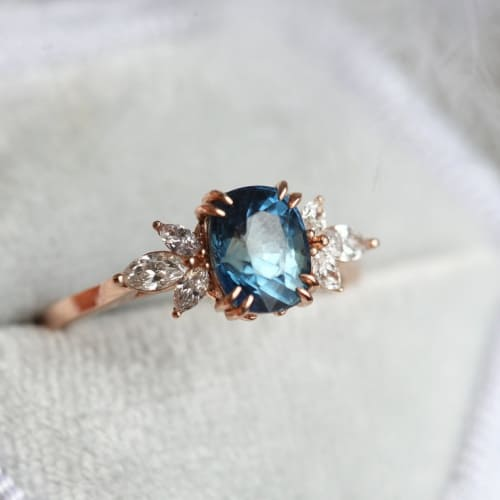 Rose Gold, Blue Cushion Sapphire, and Diamond Engagement Ring