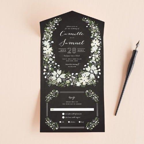 Wildflower Bouquet All-In-One Chalkboard Invitation