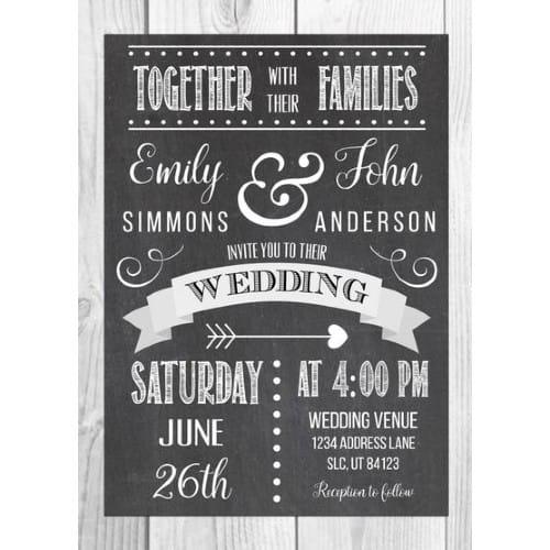 Simple Chalkboard Wedding Invite
