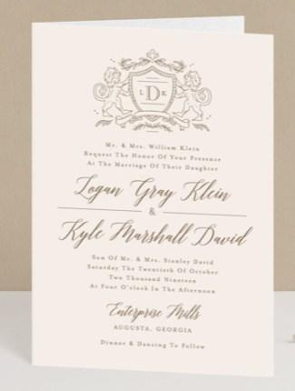 classic crest wedding invite