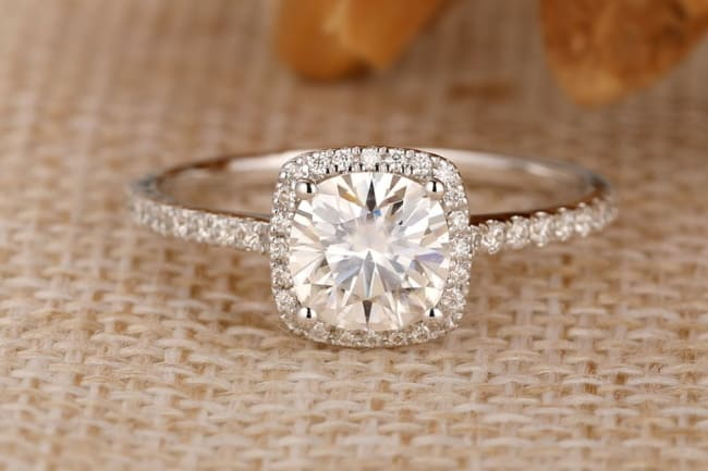 colorless moissanite ring