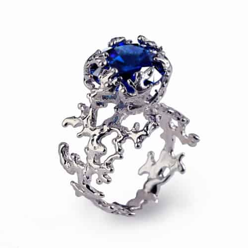Coral Blue Sapphire Engagement Statement Ring