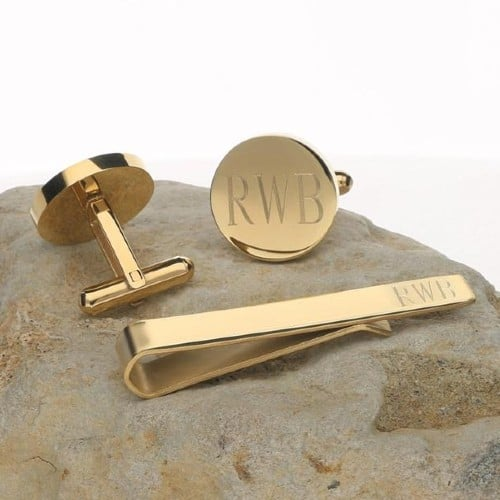 ersonalized 14K Gold Plated Cufflinks and Tie Clip Set