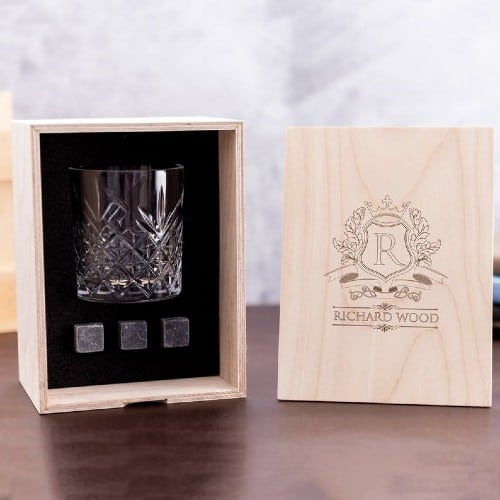 Personalized Whiskey Glass Set with Whiskey Stones