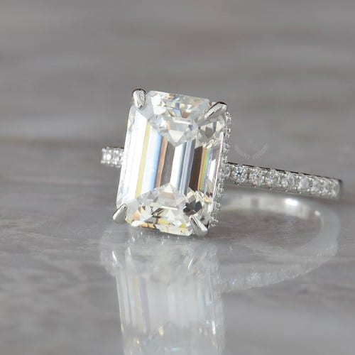 Emerald-Cut Simulated Diamond Engagement Ring