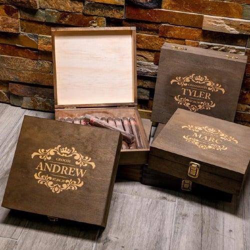 Monogrammed Cigar Box and Cigars