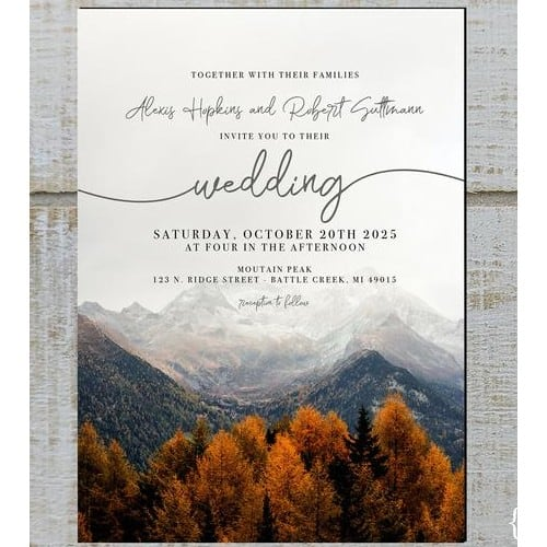 Fall Mountain Wedding Invitation