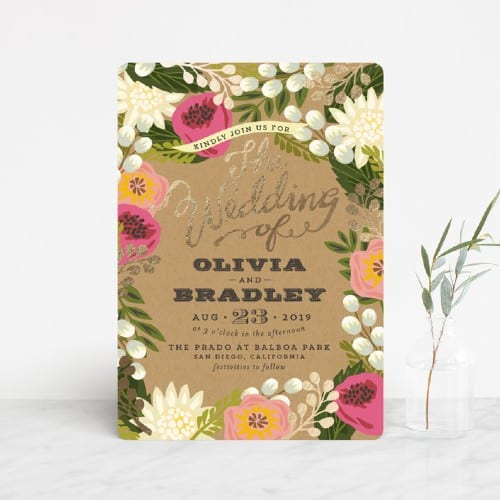 Floral Canopy Foil-Pressed Invitations
