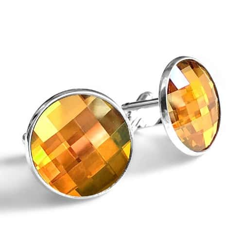 Golden Topaz Swarovski Crystal Cufflinks