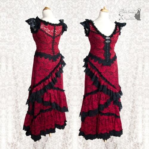 steampunk goth red wedding dress
