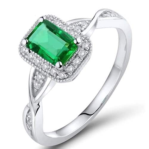 Natural Green Emerald Ring With 14K White Gold