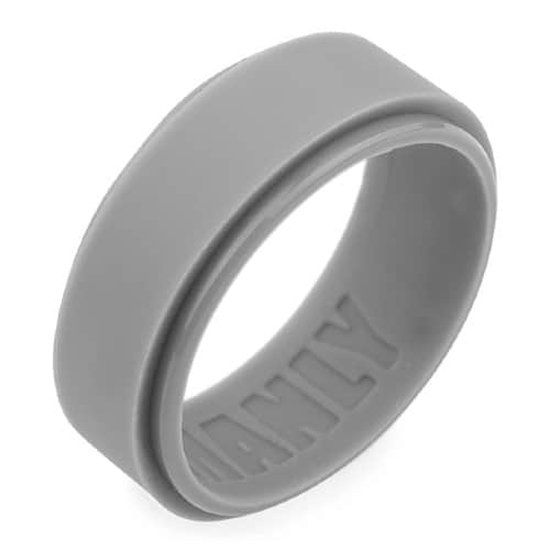 grey silicone ring with edging