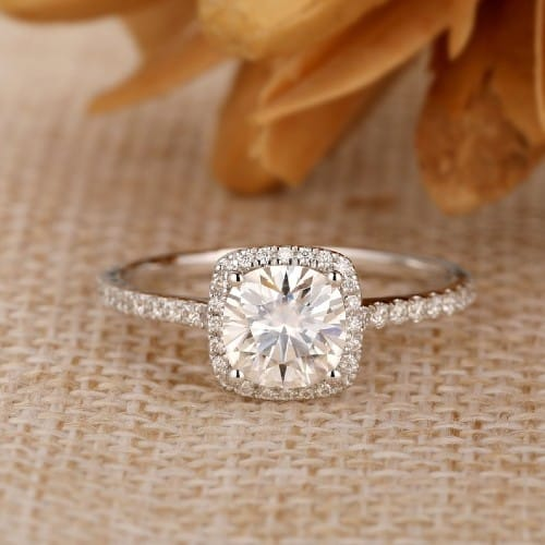 Cathedral Colorless Moissanite Ring