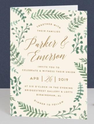 painted ferns wedding invite