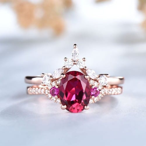 Ruby Rose Gold Oval Engagement Ring