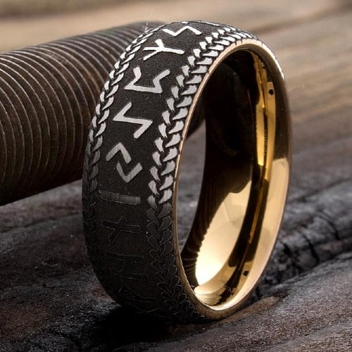 Tungsten Wedding Band, Runes Ring 8mm ring