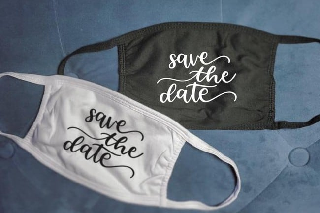 save the date satin face mask