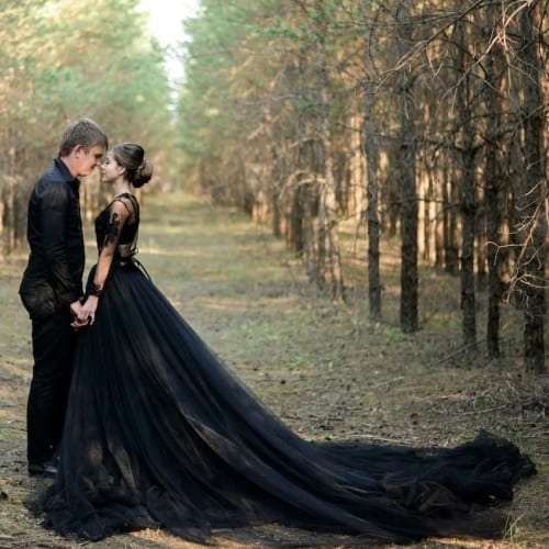 black wedding dress with long train