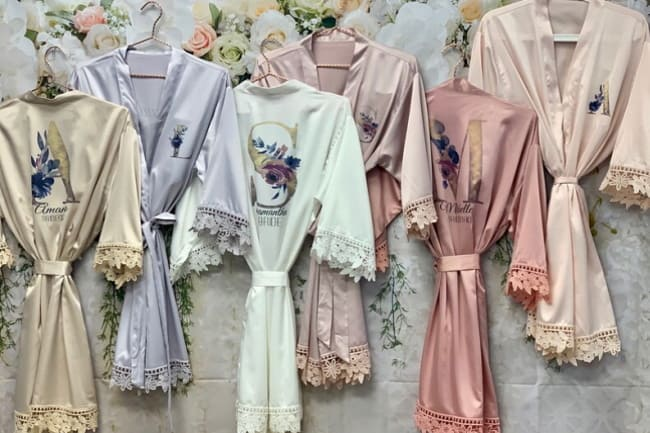 floral monogram bridesmaid robe set