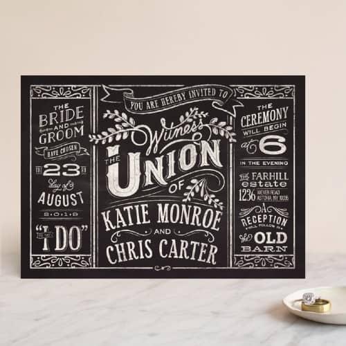 Chalkboard invitation design from Minted