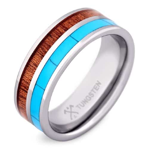 The Surfer - Tungsten Men's Wedding Band with Koa Wood & Turquoise