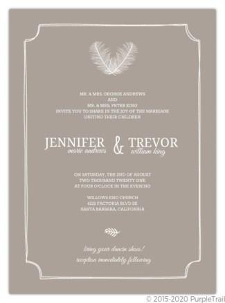 taupe and peach wedding invite