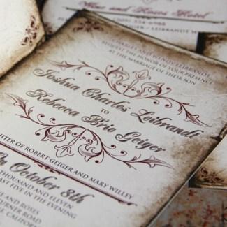 vintage parchment wedding invite
