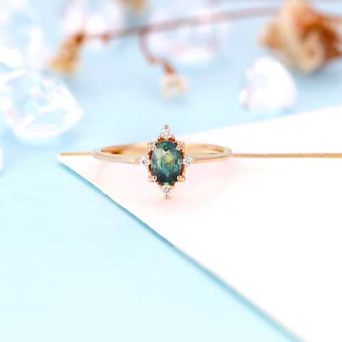 Vintage Teal Sapphire Engagement Ring, Rose Gold