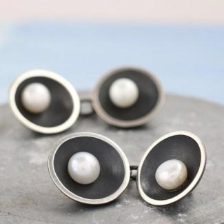 double sided pearl cufflinks