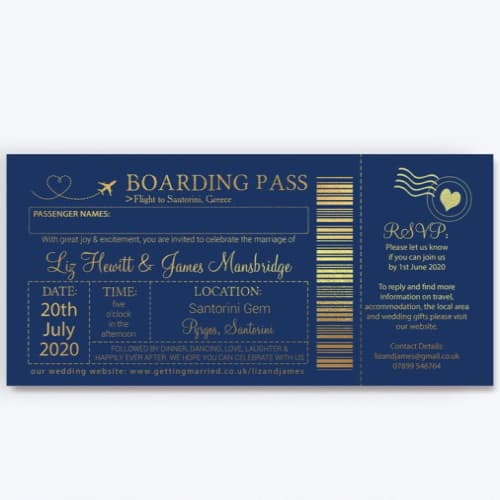 Personalized Printed Foil Boarding Pass Wedding Invite