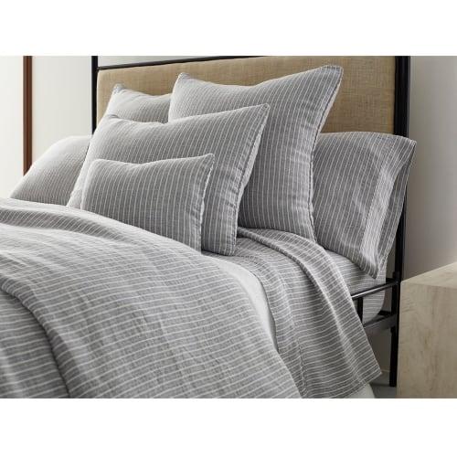 grey striped linen duvet cover