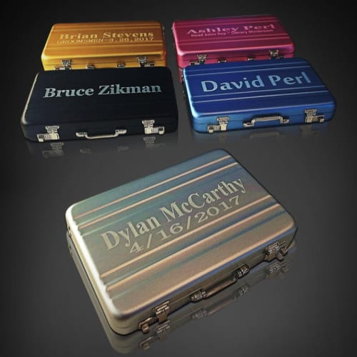 mini engraved briefcase card holders