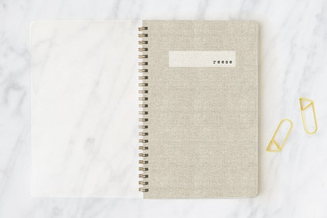 linen notebook personalized
