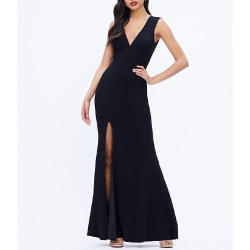 Crepe Plunge V-Neck Sleeveless Side Slit Gown