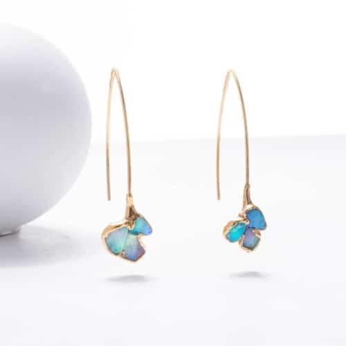 Mini Raw Opal Cluster Earrings, Dangle Statement Earrings