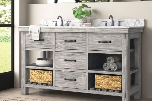 Rustic Farmhouse Bathroom Vanity Set