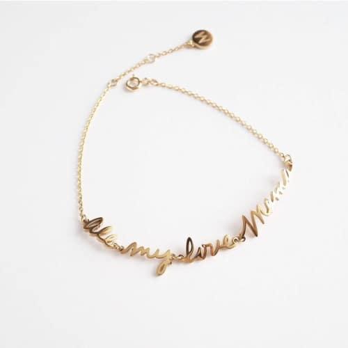 silver script name bracelet