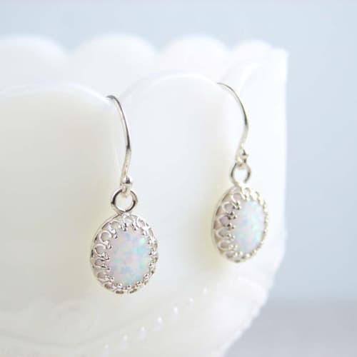 silver drop opal earrings