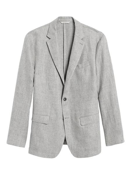 grey linen suit jacket
