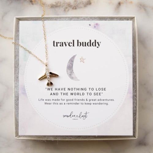 travel buddy airplane necklace
