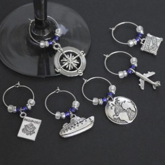 travel themed wine charms