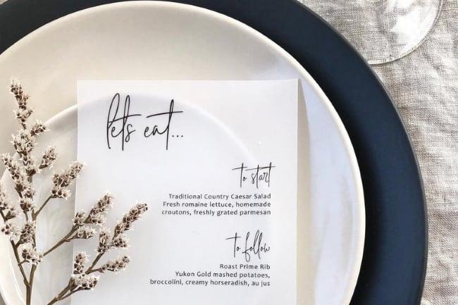 Unique wedding menu card